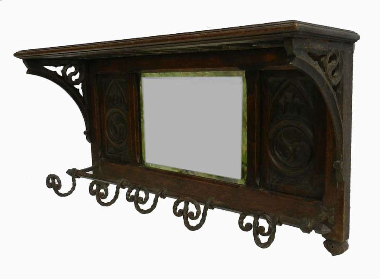 C19 Gothic French Hat & Coat Wall Rack with Mirror
