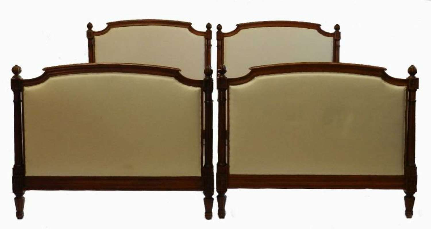 Pair French Louis XVI revival Twin Beds + Bases Single upholstered ready for Top Covers