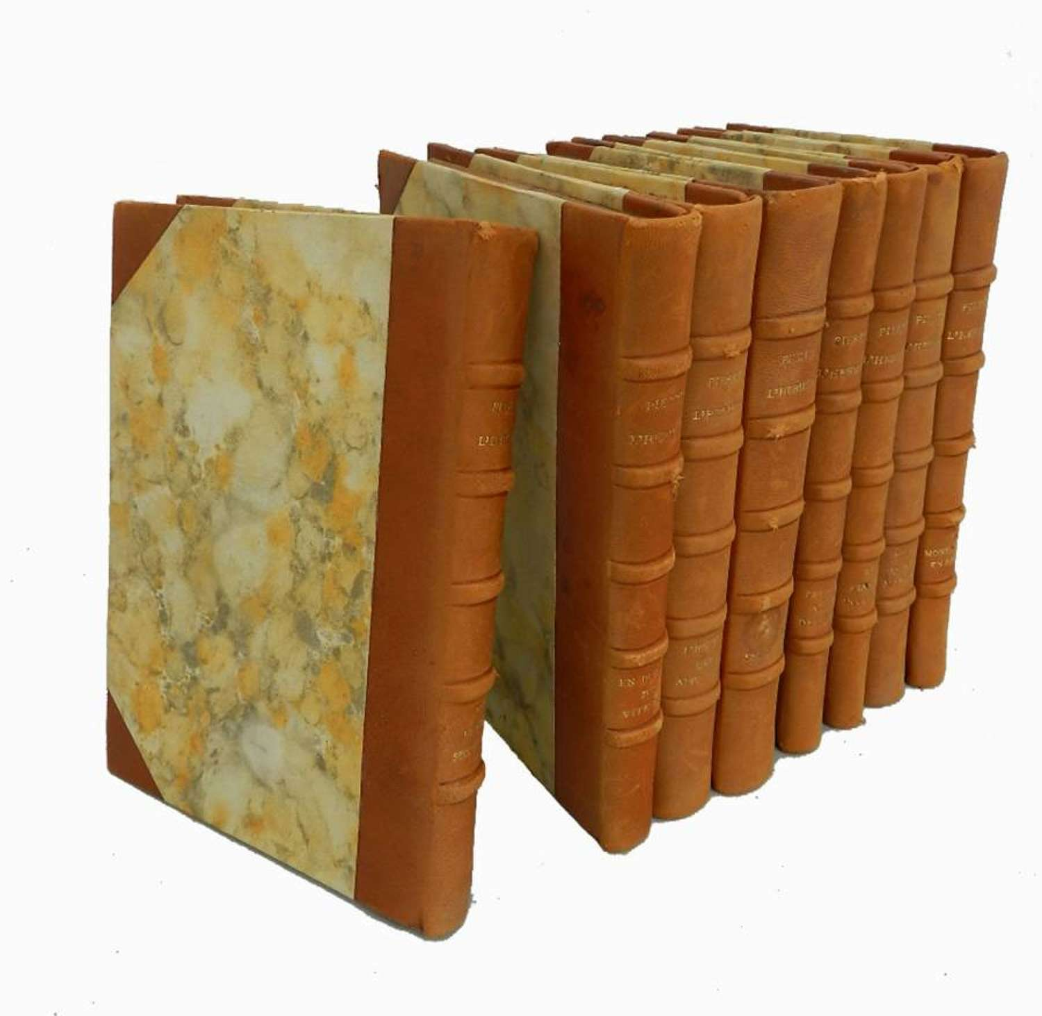 8 Decorative French Leather bound Books c1940