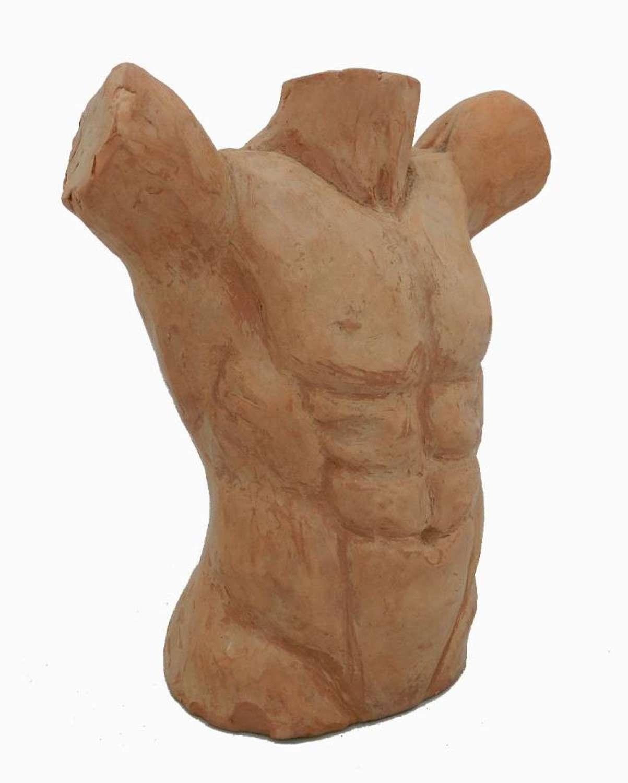 Classic Nude Torso of Man Statue Terracotta French Sculptors Study