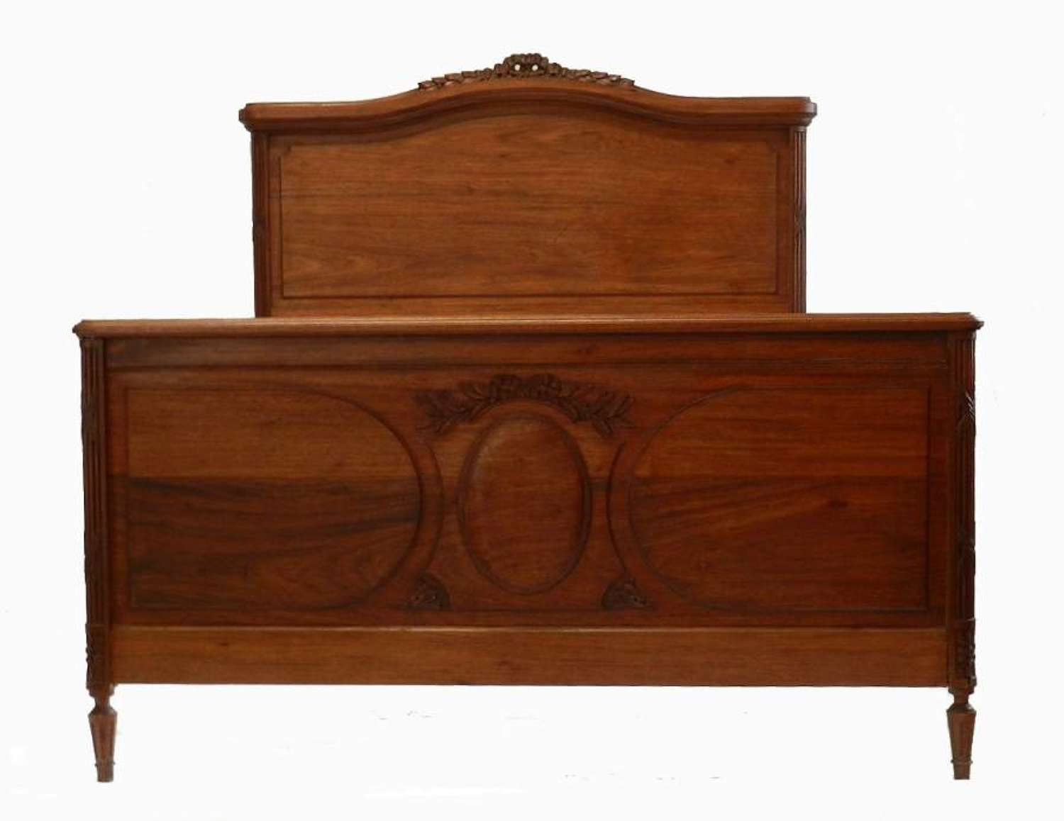 Classic C19 Louis XVI Mahogany French Double Bed + Base