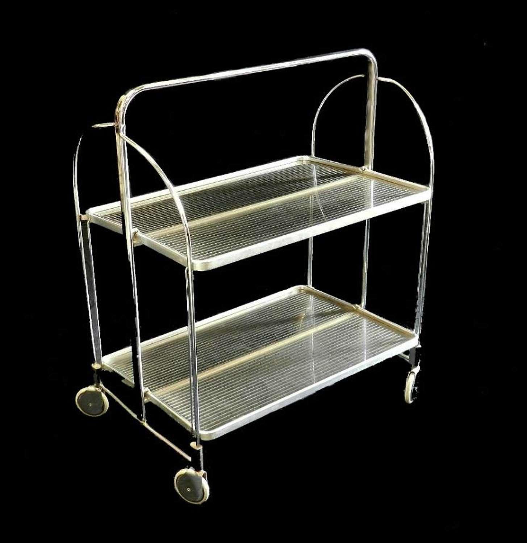 Chrome & Lucite Folding Trolley Bar Cart Tea Drinks Mid Century