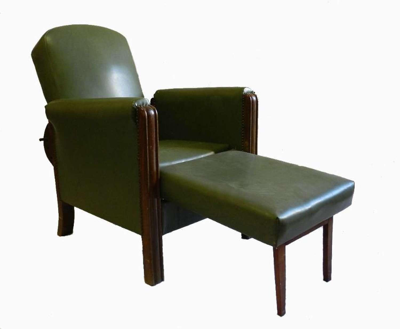 Unusual French Art Deco Armchair Metamorphic Reclining Chair