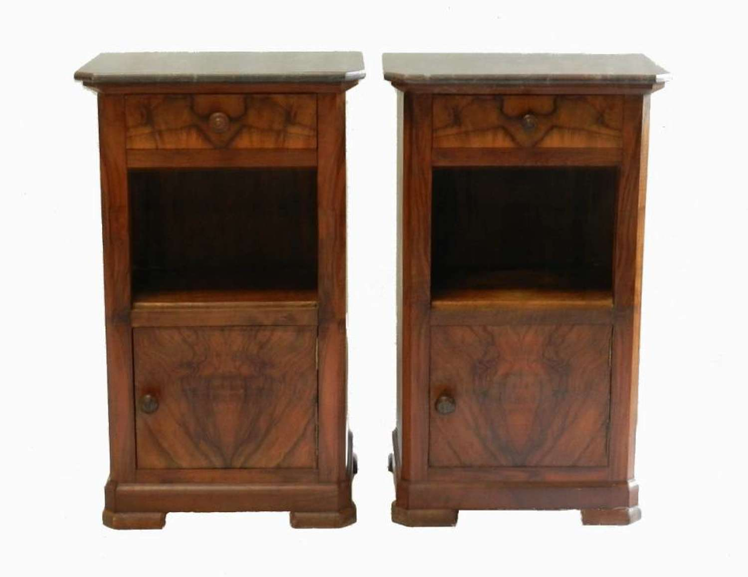 C19 Pair French Side Cabinets Walnut Nightstand Bedside Table