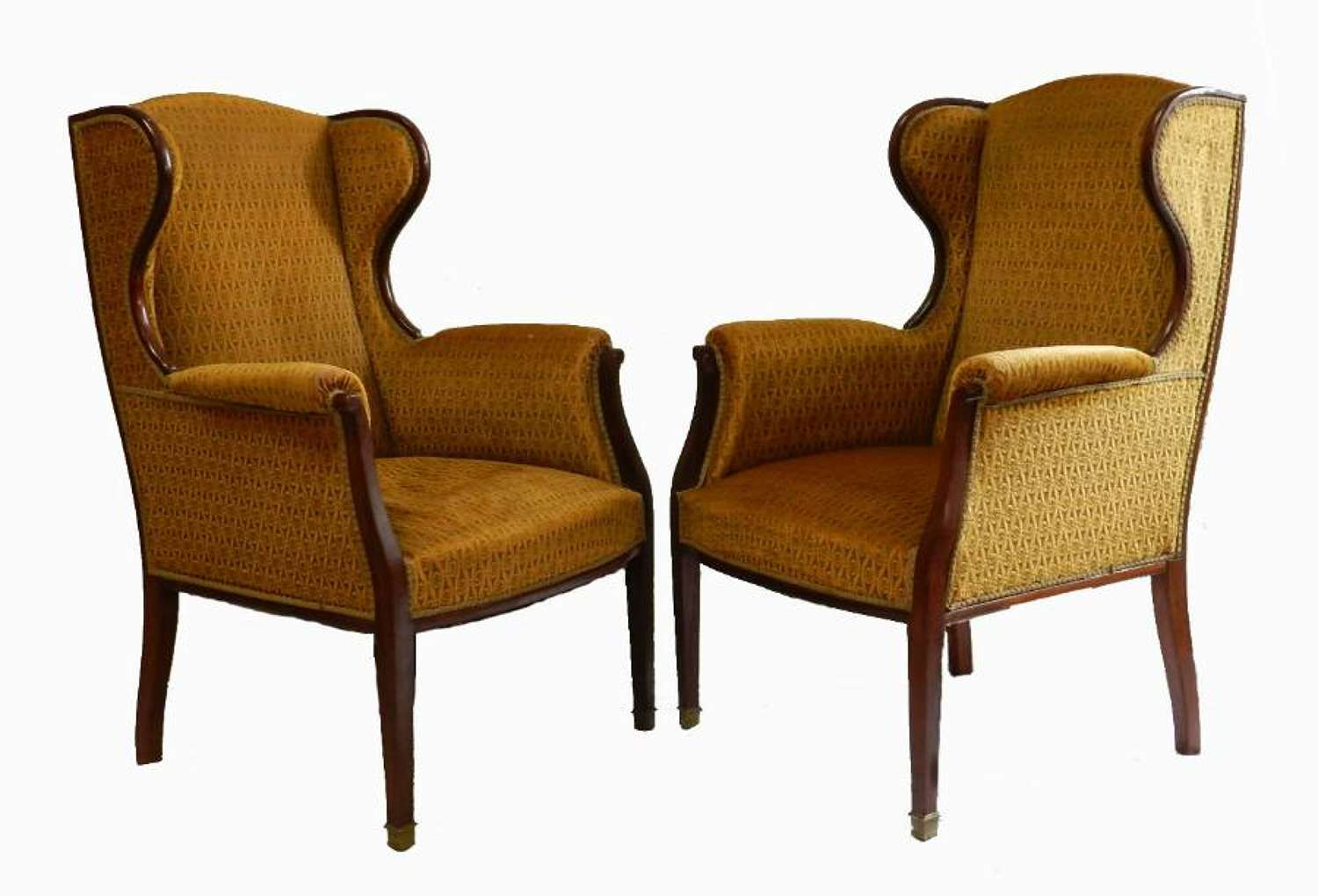 Pair French Wing Chairs Armchairs to recover