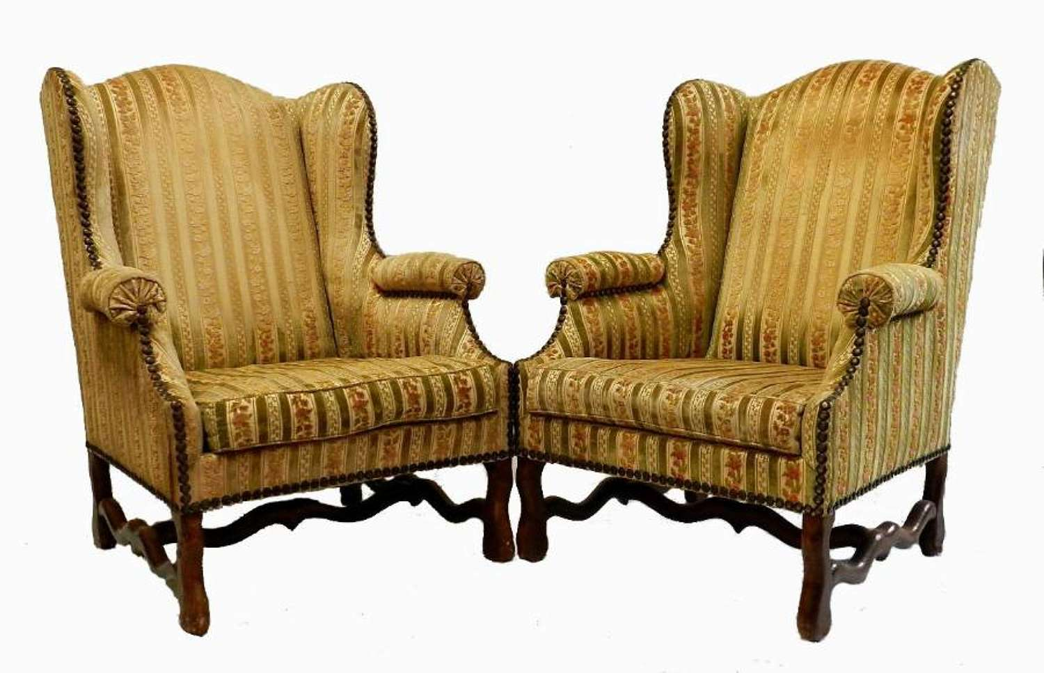 Pair French Os de Mouton Wing Chairs to recover Armchairs