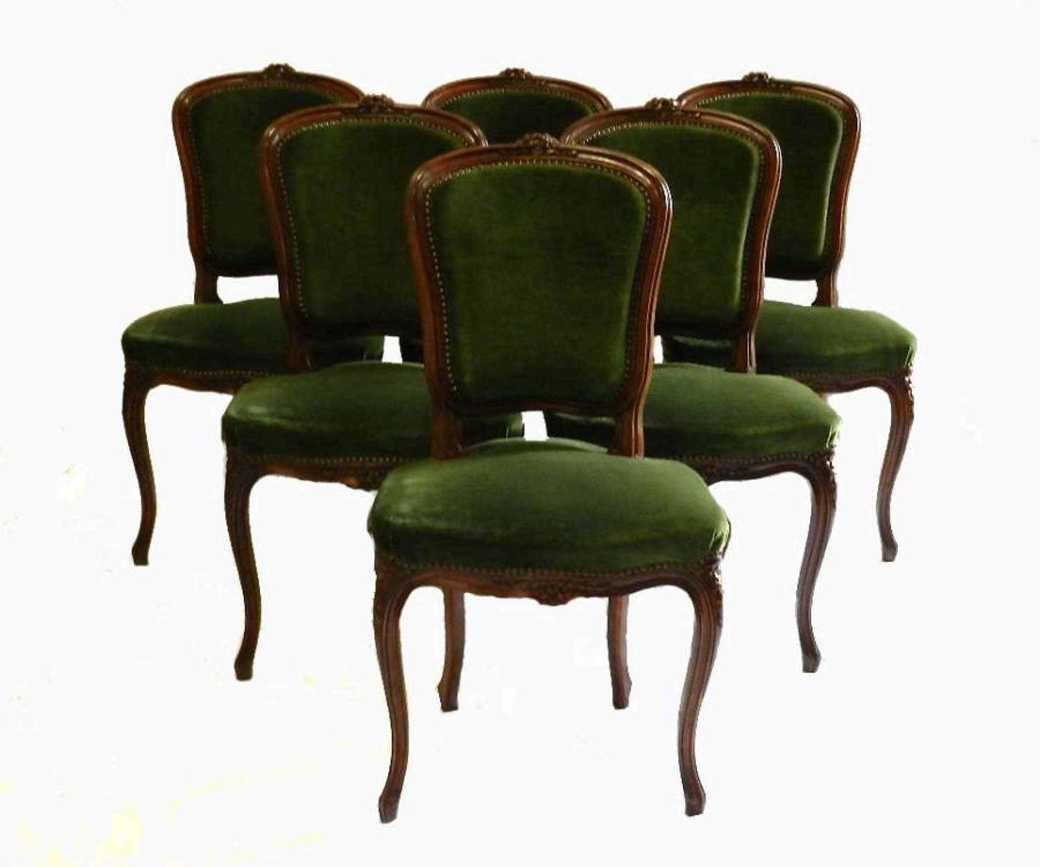 6 upholstered French Dining Chairs early vintage Louis revival