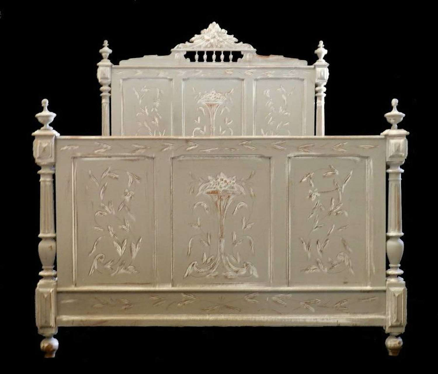 C19 Painted French Double Bed + Base