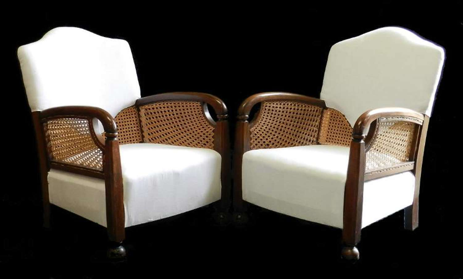 Pair of Art Deco Armchairs Bergere Sunray ready for top covers