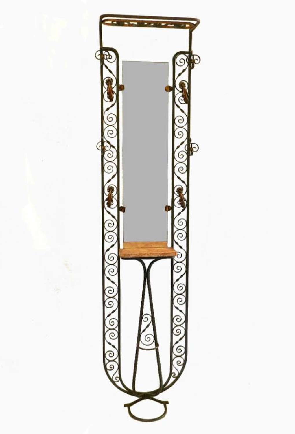 French Art Deco Hallstand Hat Coat & Stick Stand Mirror and Iron