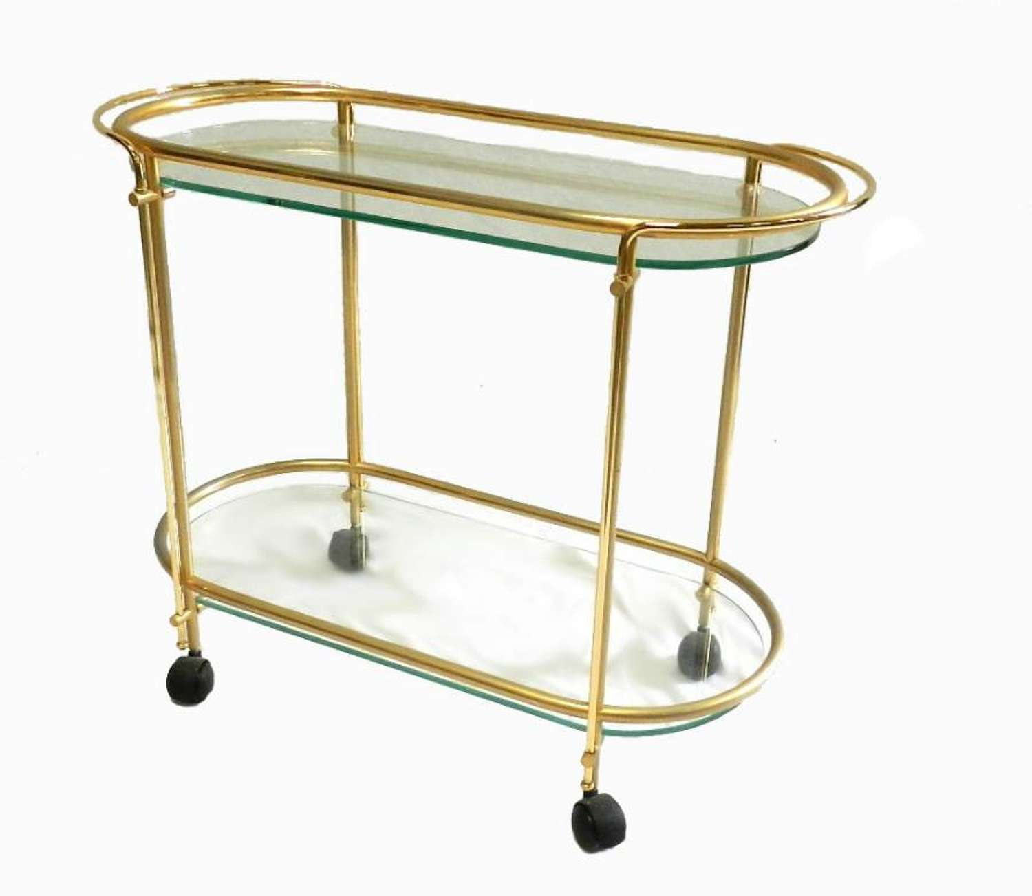 French Drinks Trolley Brass and Glass Coffee Tea Table