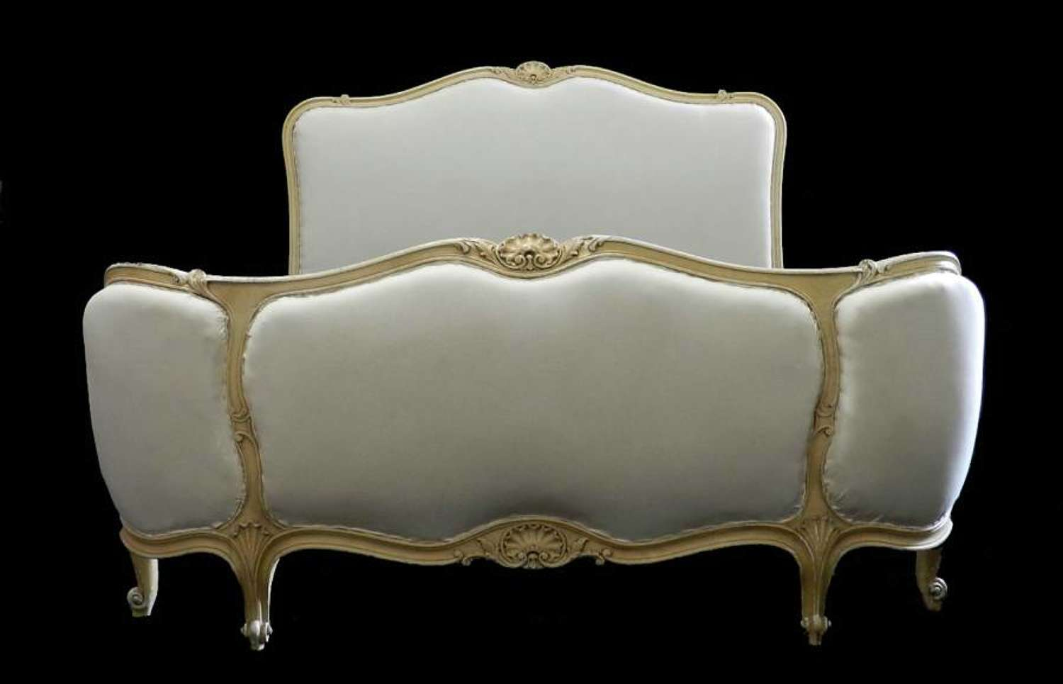 French Double Bed + Base Louis Corbeille ready for Top Covers upholstered to Calico
