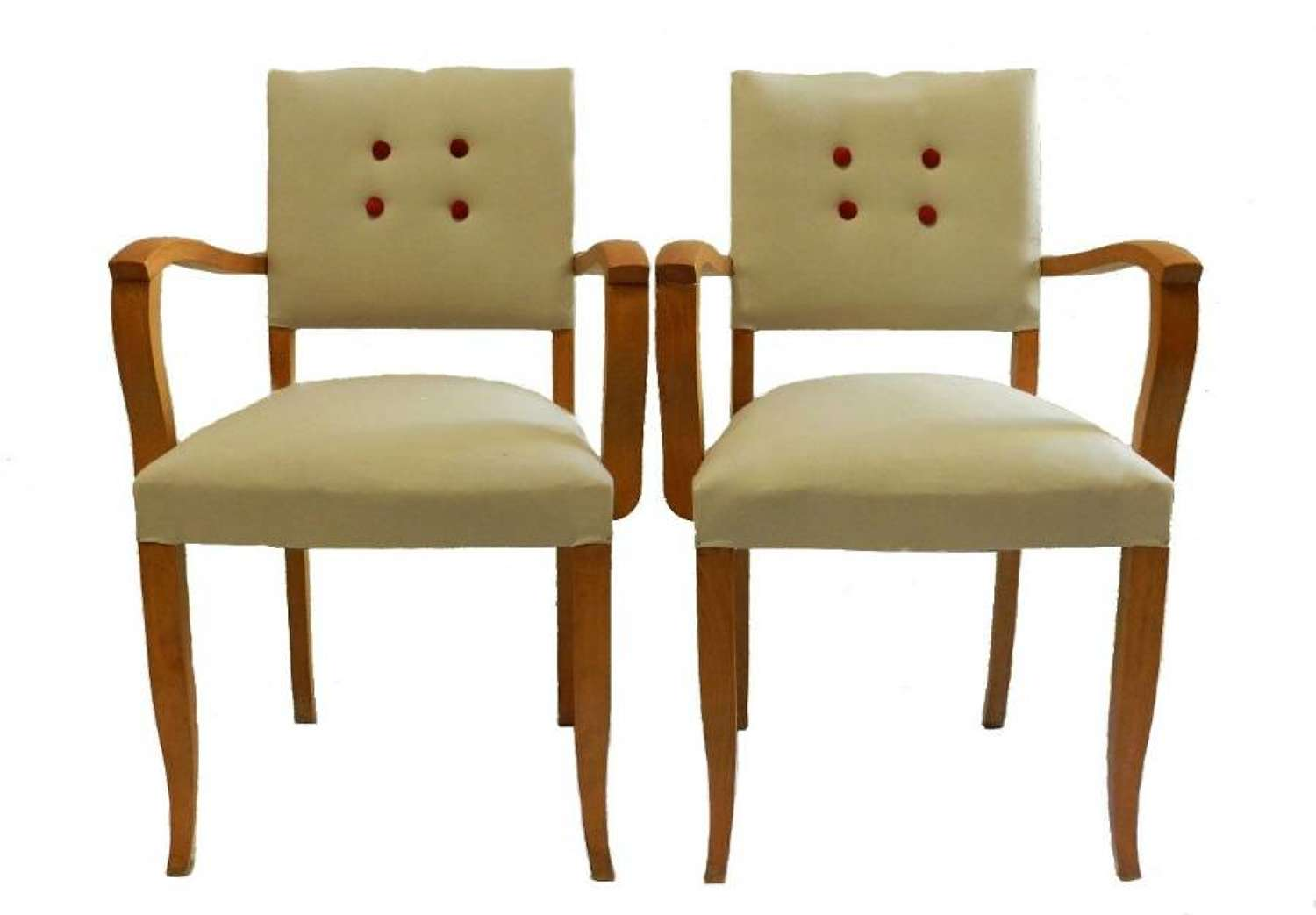 Pair French Bridge Chairs Art Deco newly upholstered