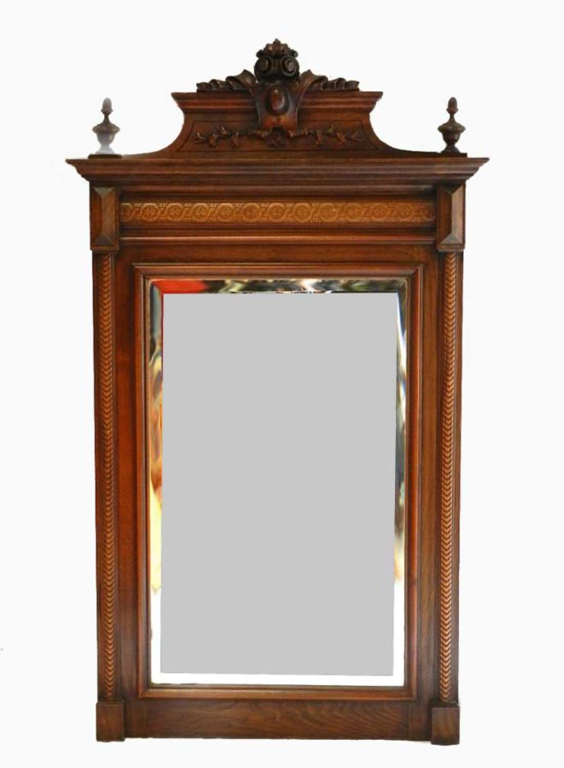 C19 French Mirror Crested Over Mantle / Mantel