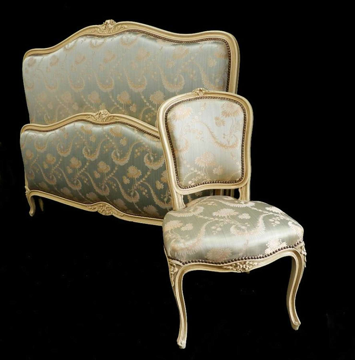 French Bed + Base Double or King size + Chair upholstered Vintage Louis