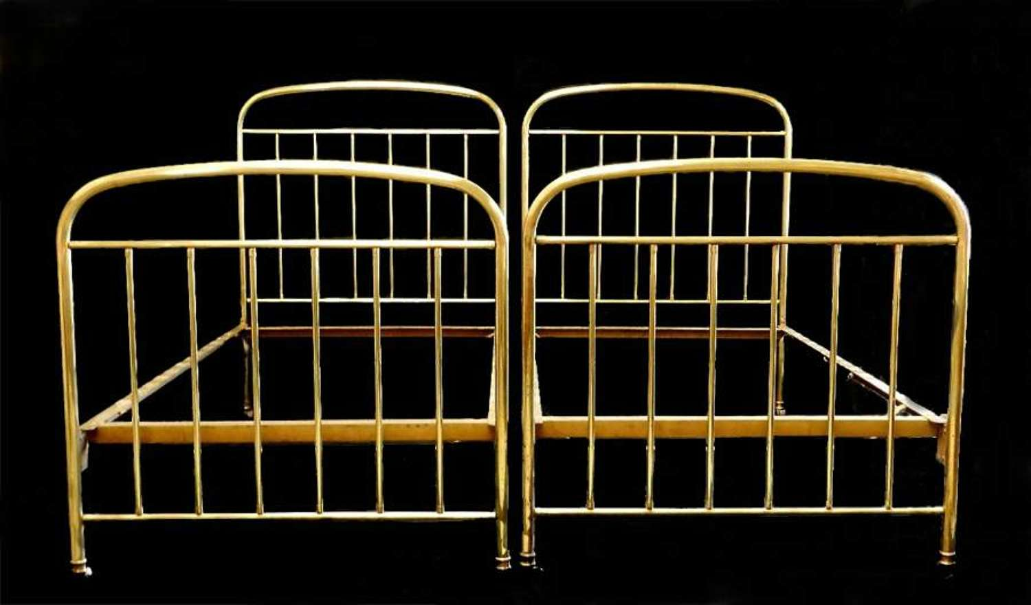 Arts and Crafts Pair of  French Brass Beds Twin Singles