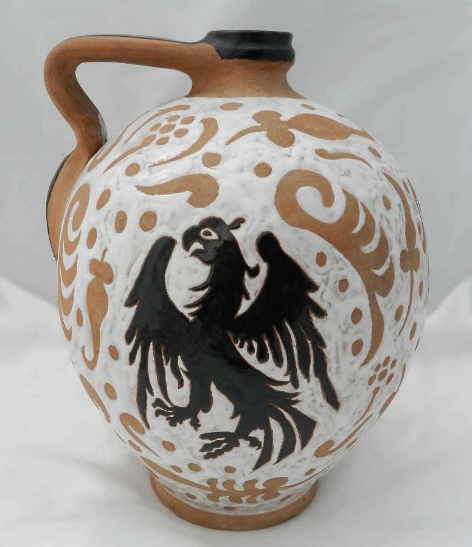 Art Pottery Iberian Pitcher Jug Terracotta Eagle Slipware