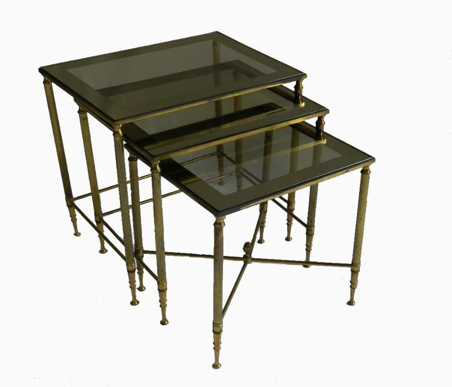 Nest of 3 French Tables Brass and Mirrored Glass