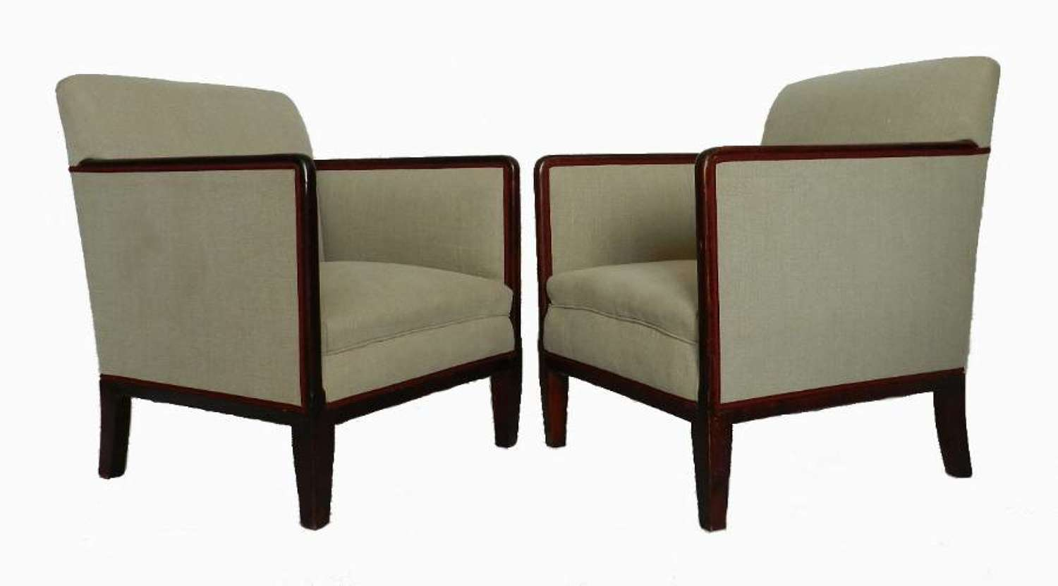 Pair French Art Deco Armchairs newly upholstered
