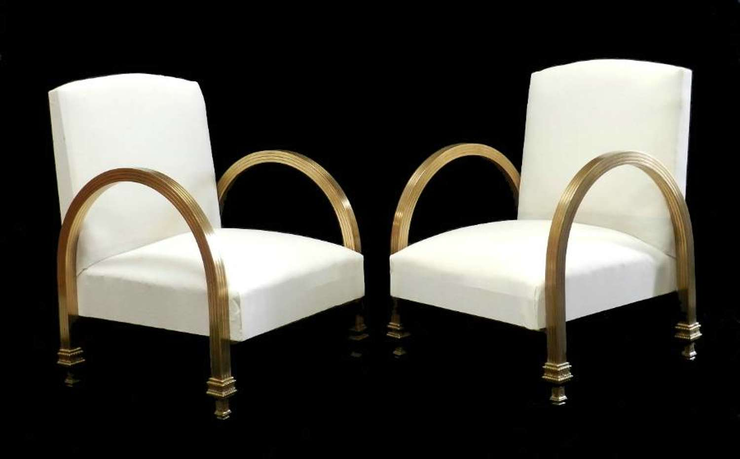 Unusual Art Deco Pair of Armchairs Brass newly upholstered ready for top covers