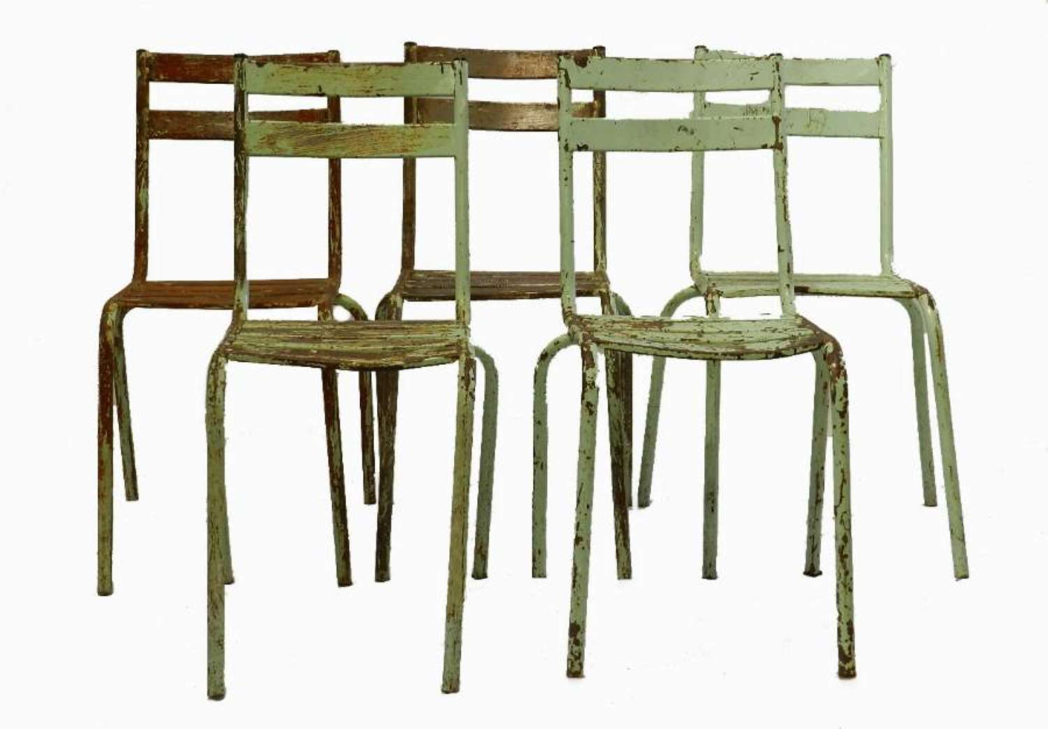 5 French Metal Stacking Chairs by Art Prog 1950s