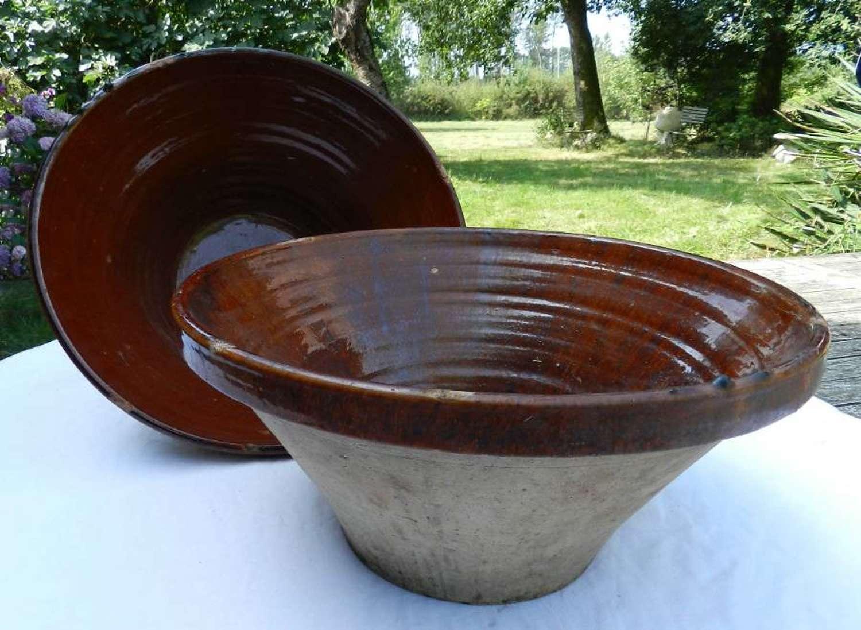 C19 French Pair of Tian Bowls Stoneware Terracotta Confit Farmhouse Kitchen