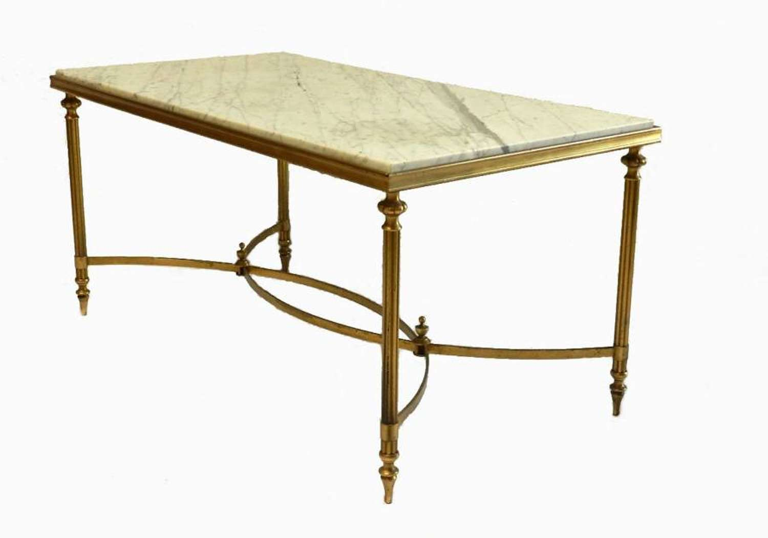French Coffee Table Vintage Neoclassical Brass & Marble Side Table style Ramsay Bagues Jansen