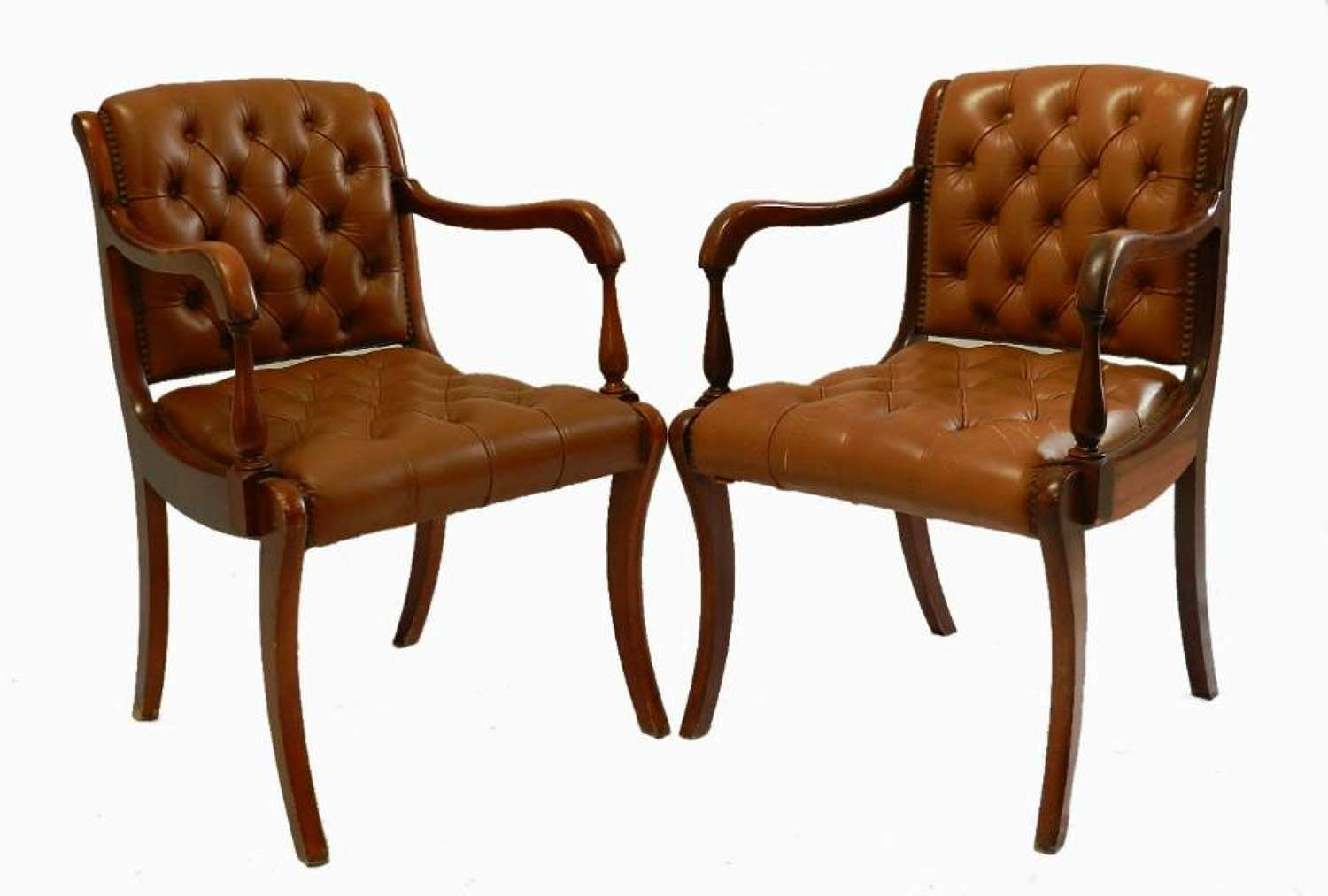 Pair Vintage French Leather Button Back Chairs Desk Armchairs