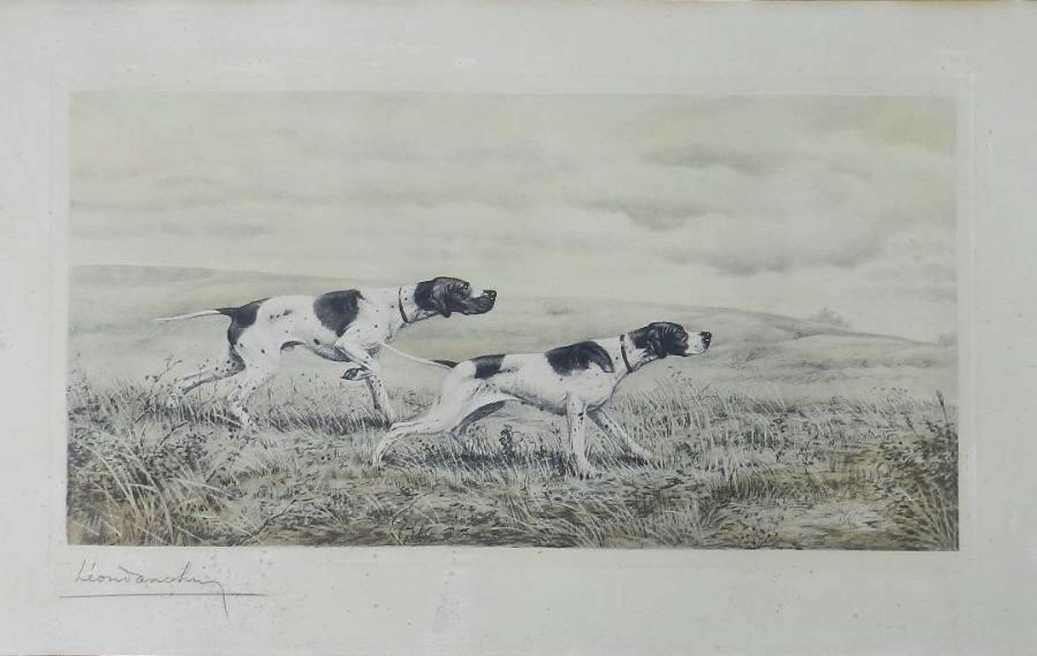 Original Leon Danchin Signed Print Pair of Sporting Dogs Pointers