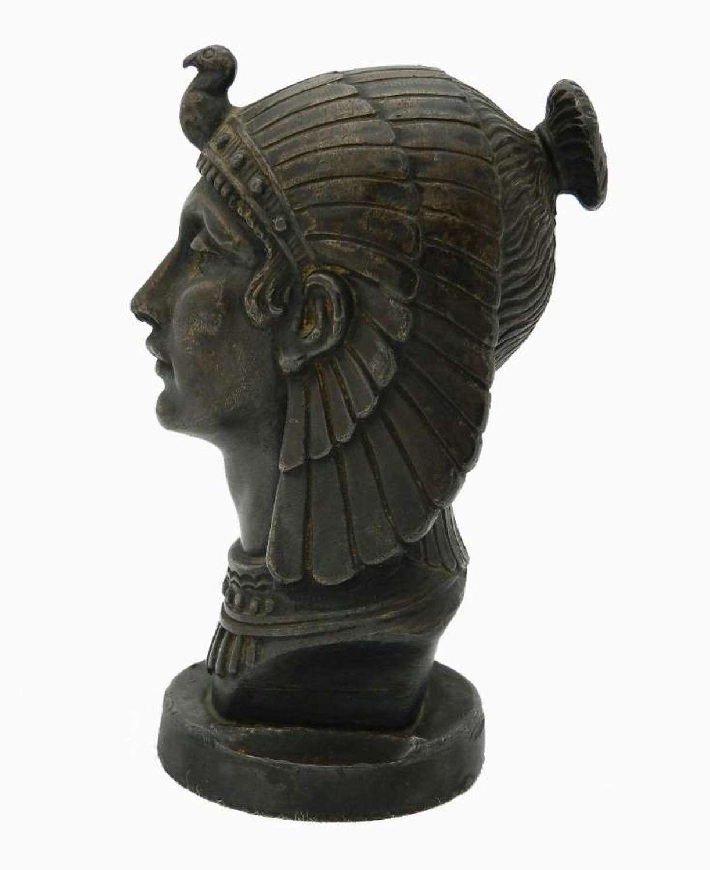 French Art Deco Egyptian Head Bronze signed Frecourt Car Radiator Cap Mascot