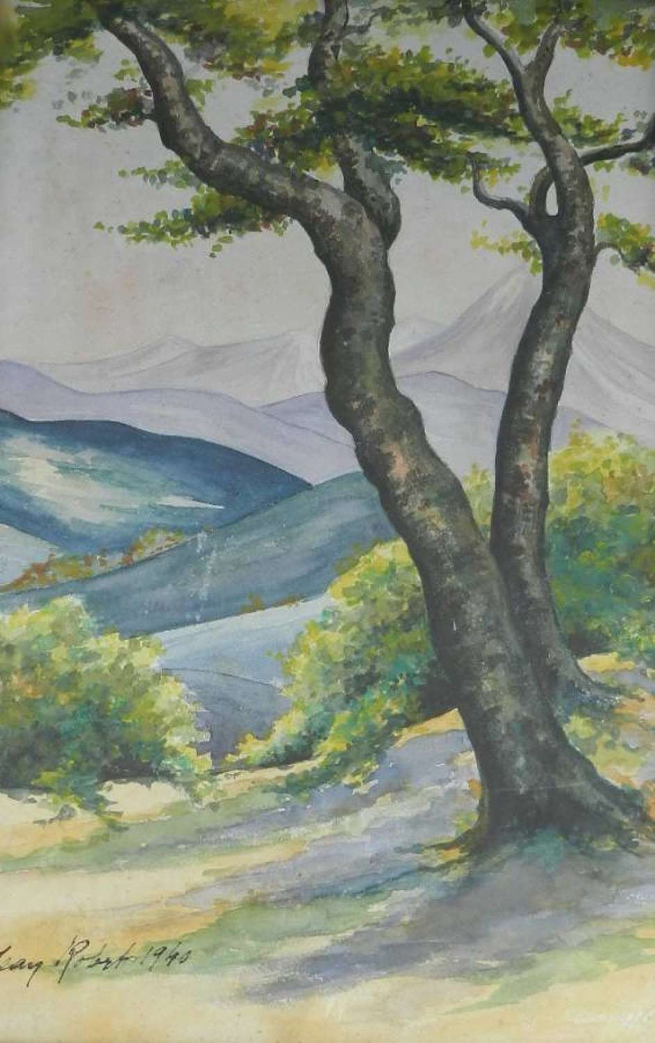 Watercolour painting view to the French Pyrenees signed & dated 1940