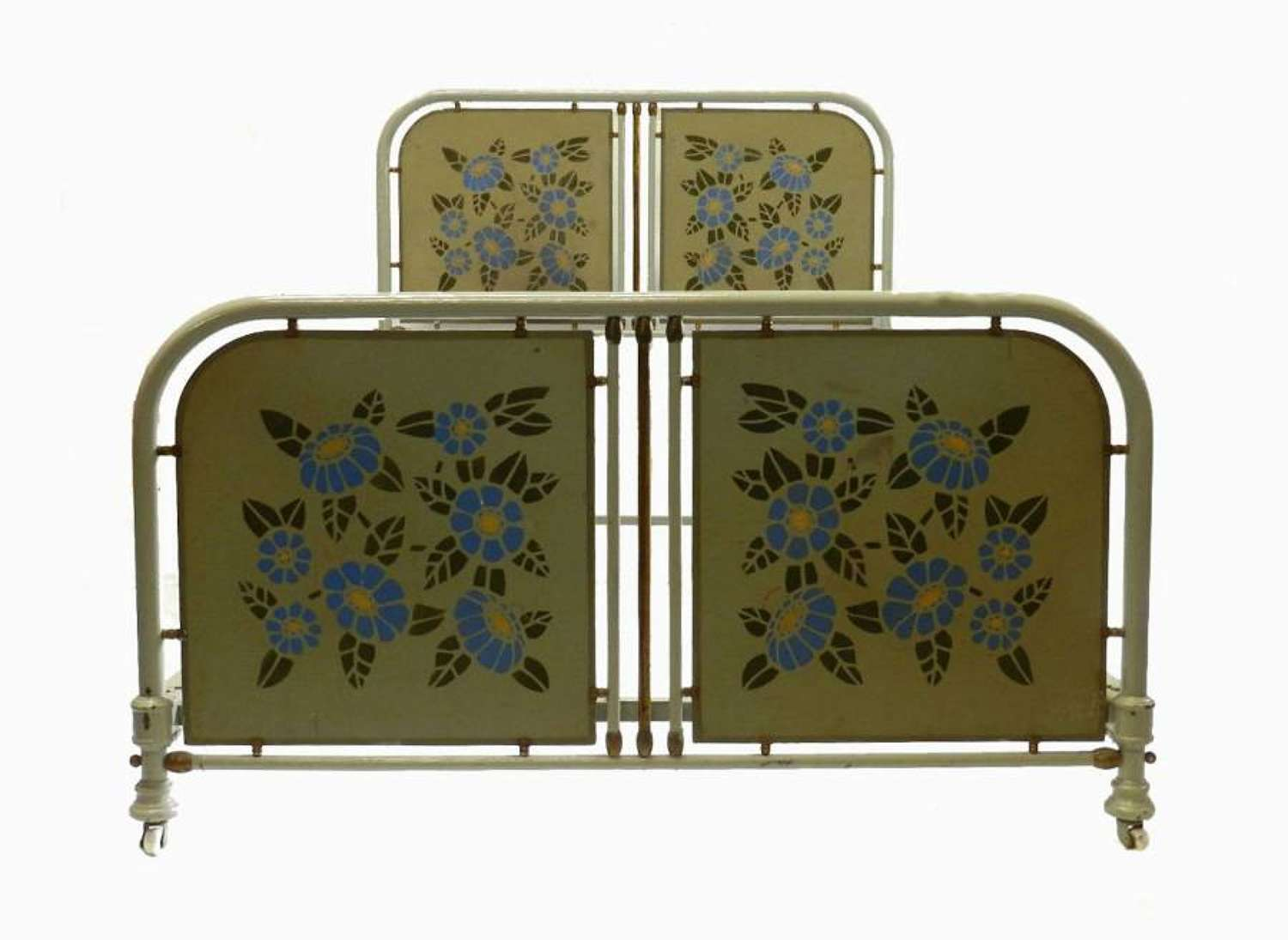 Original Iron & Brass French Art Deco Large Single 4ft or Childs Bed + Base