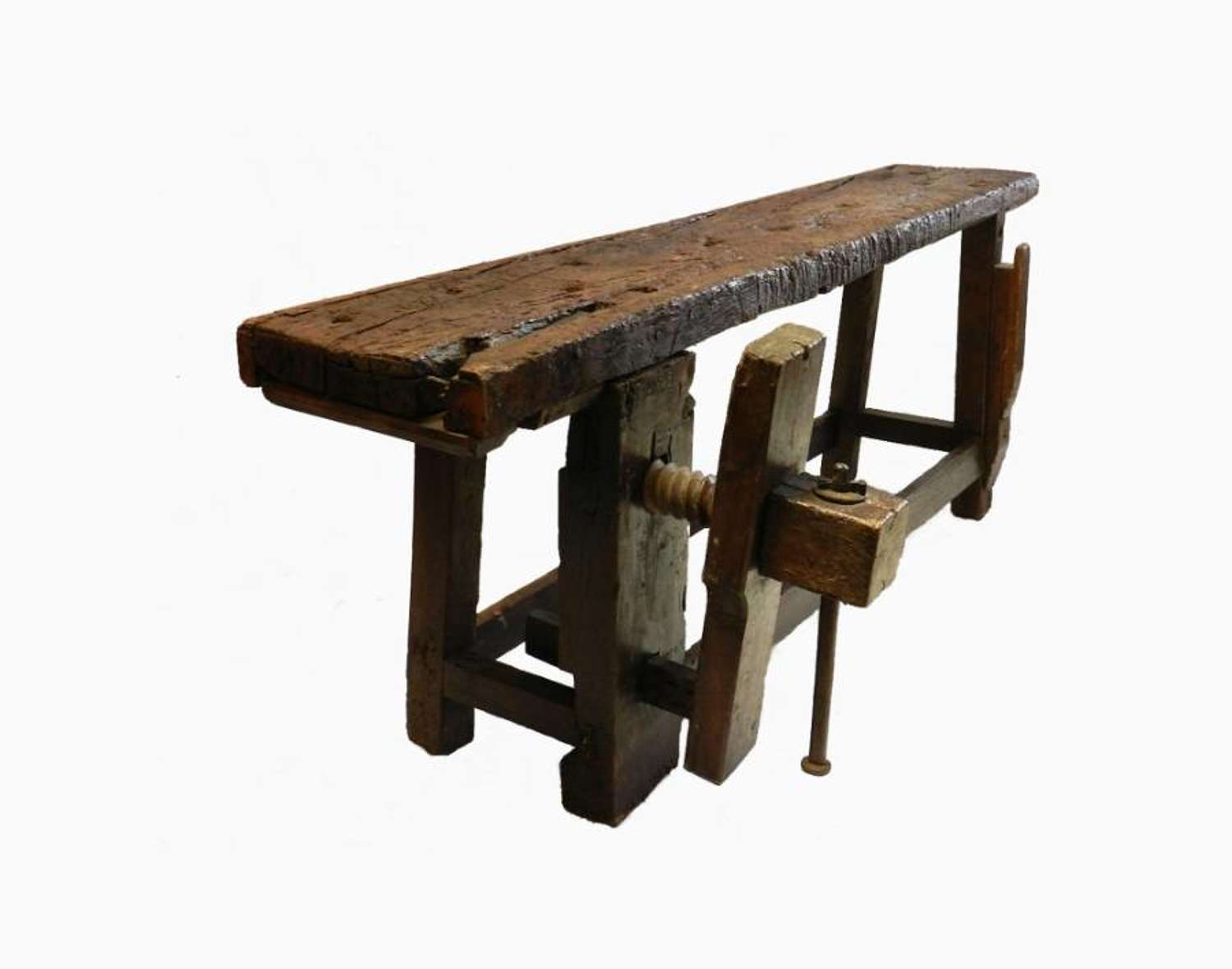 Original Old French Oak Work Bench Console Side Table