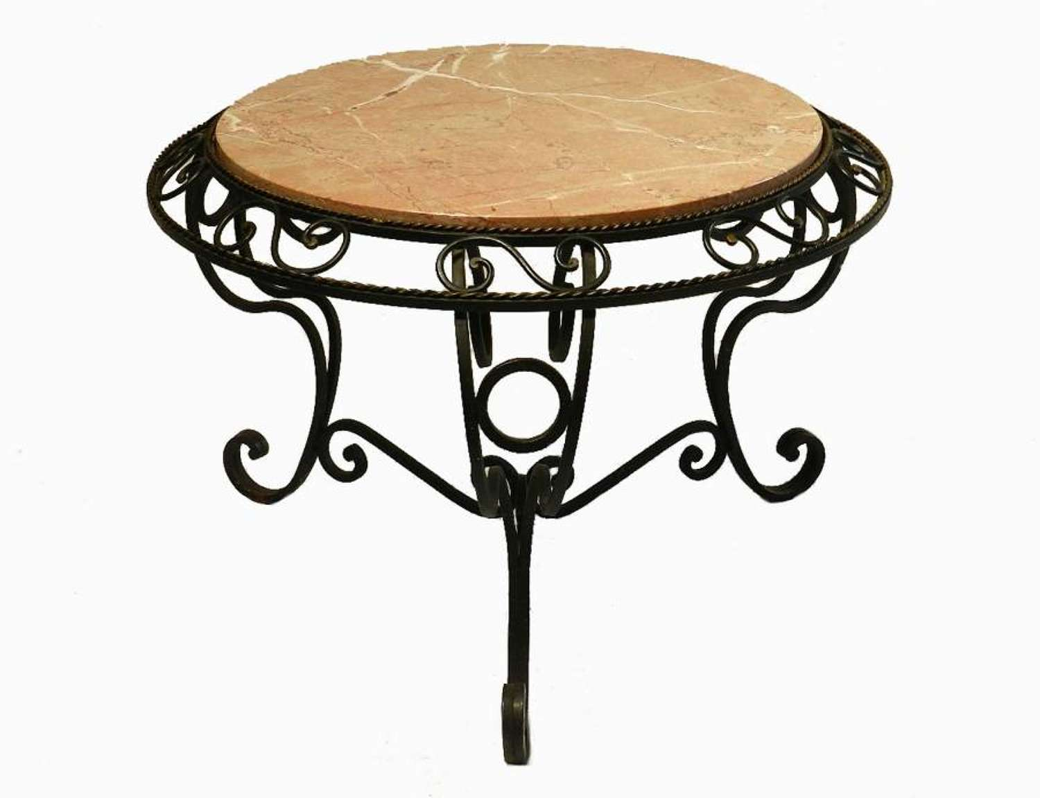 French Marble and Iron Occasional Side Table