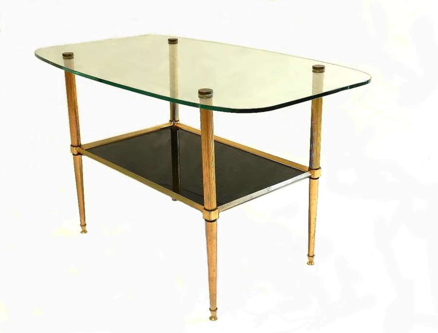 French 2 Tier Brass and Glass Coffee Side Table