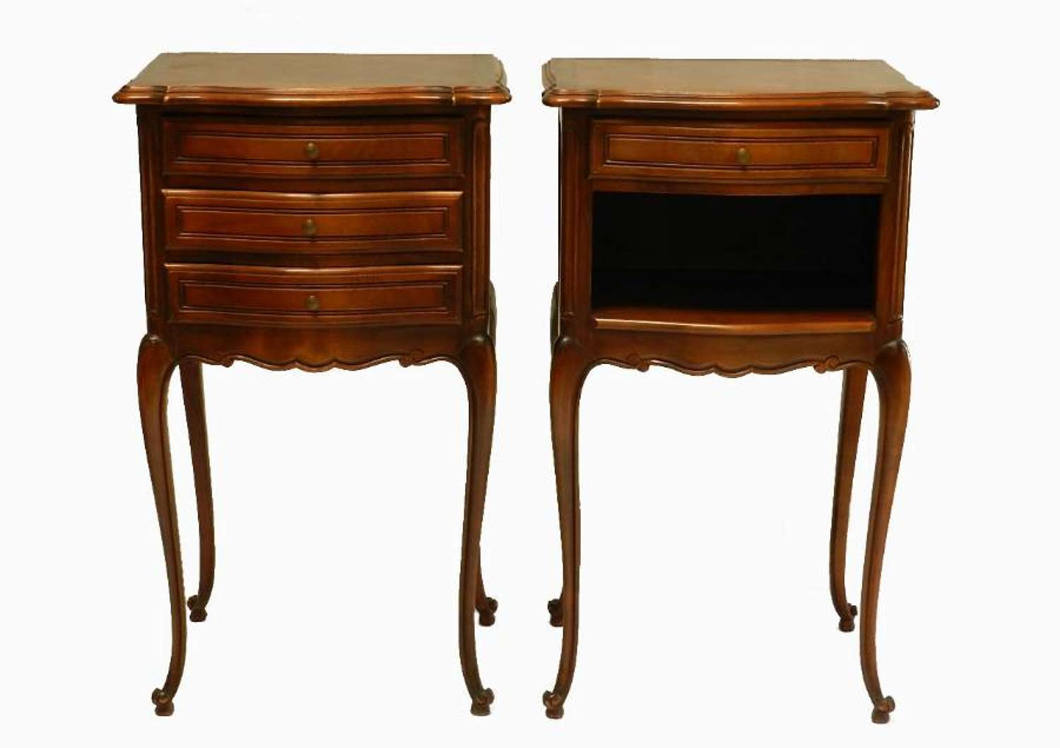 French Pair of Bedside Tables Louis rev Cherry Cabinet Nightstands