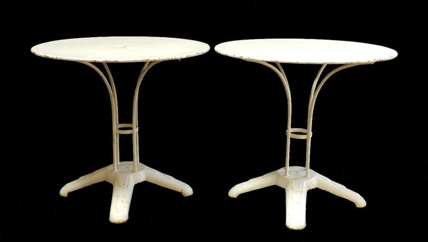 Art Deco Pair of French Bistro Tables Cafe Garden painted Iron
