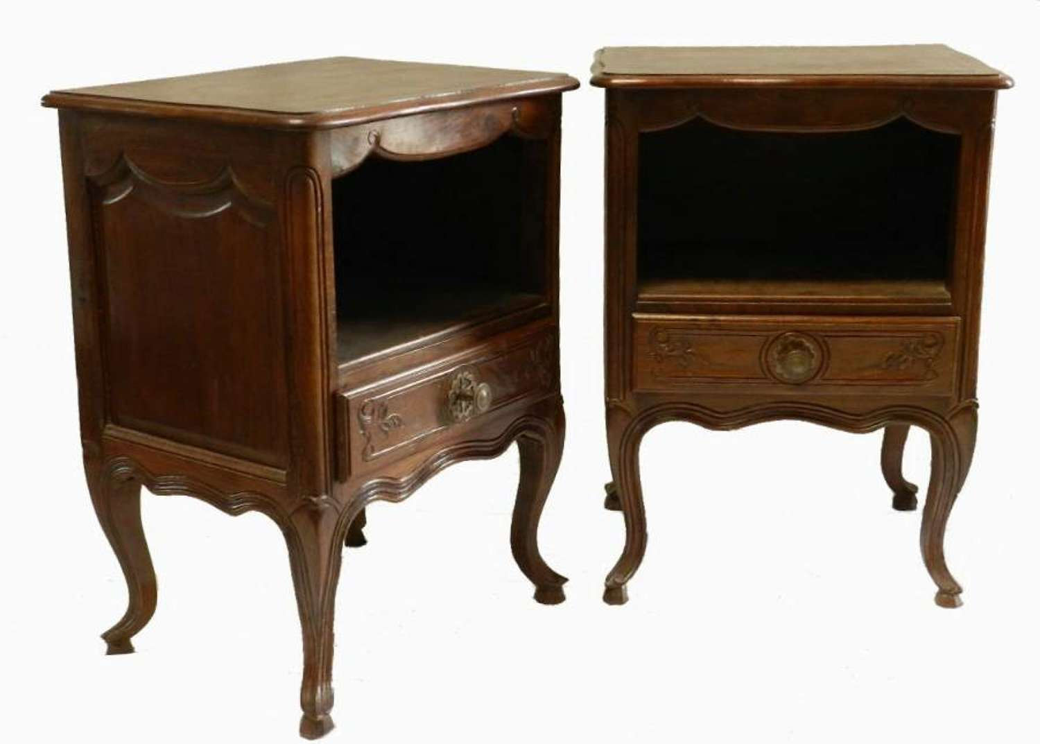 Pair of French Louis rev Side Cabinets Walnut Bedside Tables Nightstand
