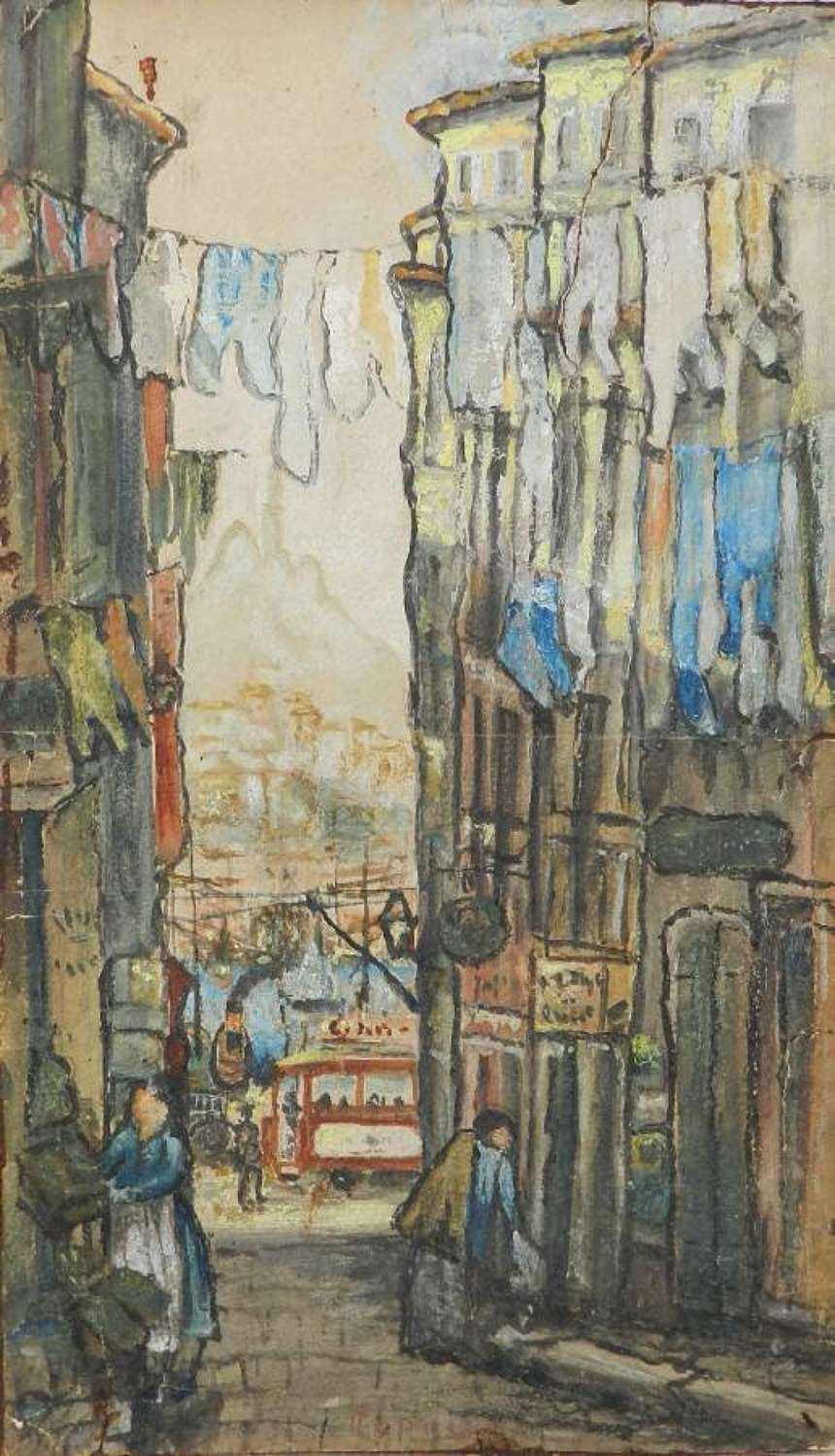 Original Painting Signed Watercolour Study of St Tropez Street Scene to Port by Alfred de La Rocca 1855-1915 French