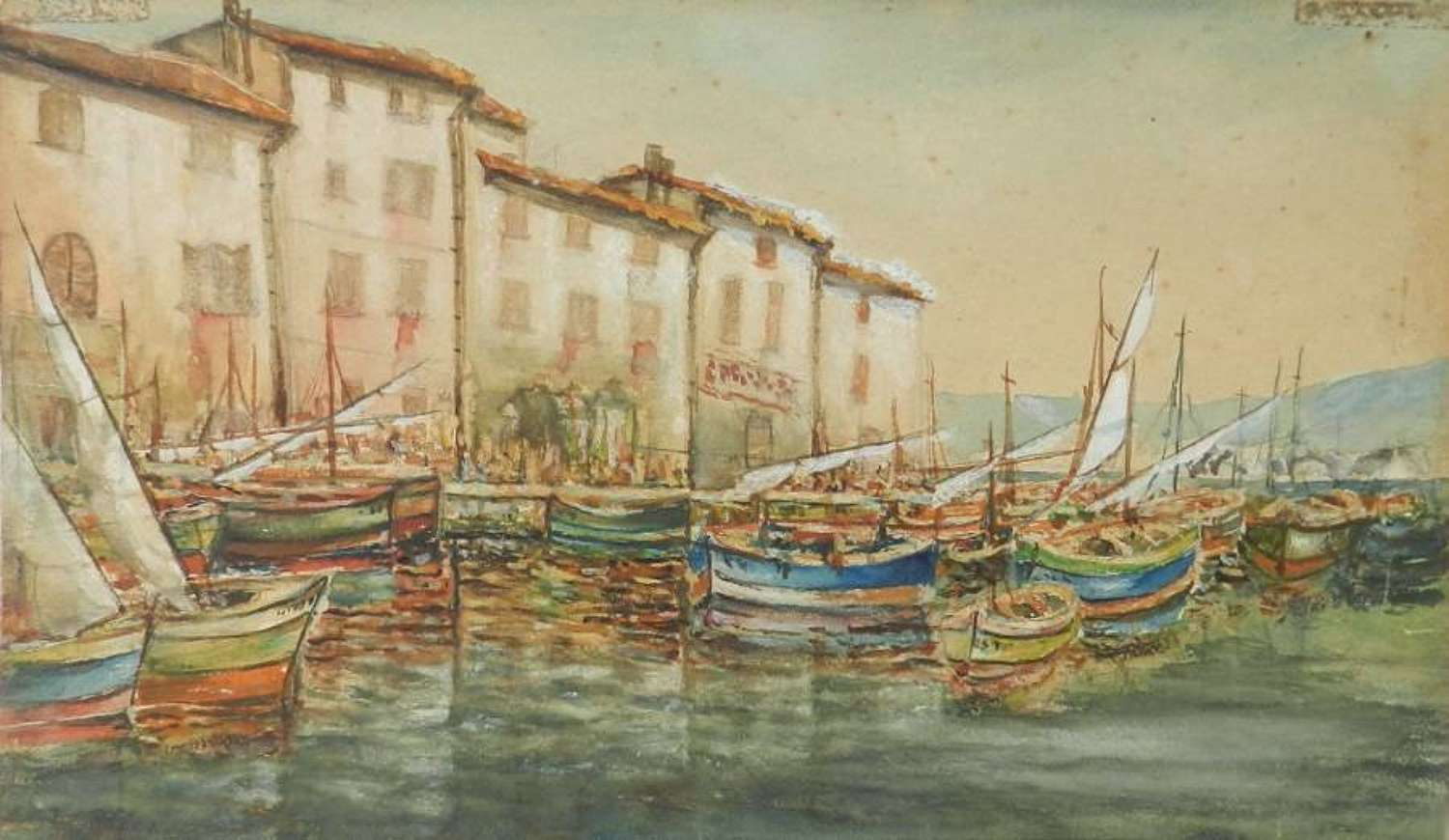 Original Painting Signed Watercolour Study of St Tropez Fishing Boats in Harbour Port Alfred de La Rocca 1855-1915 French