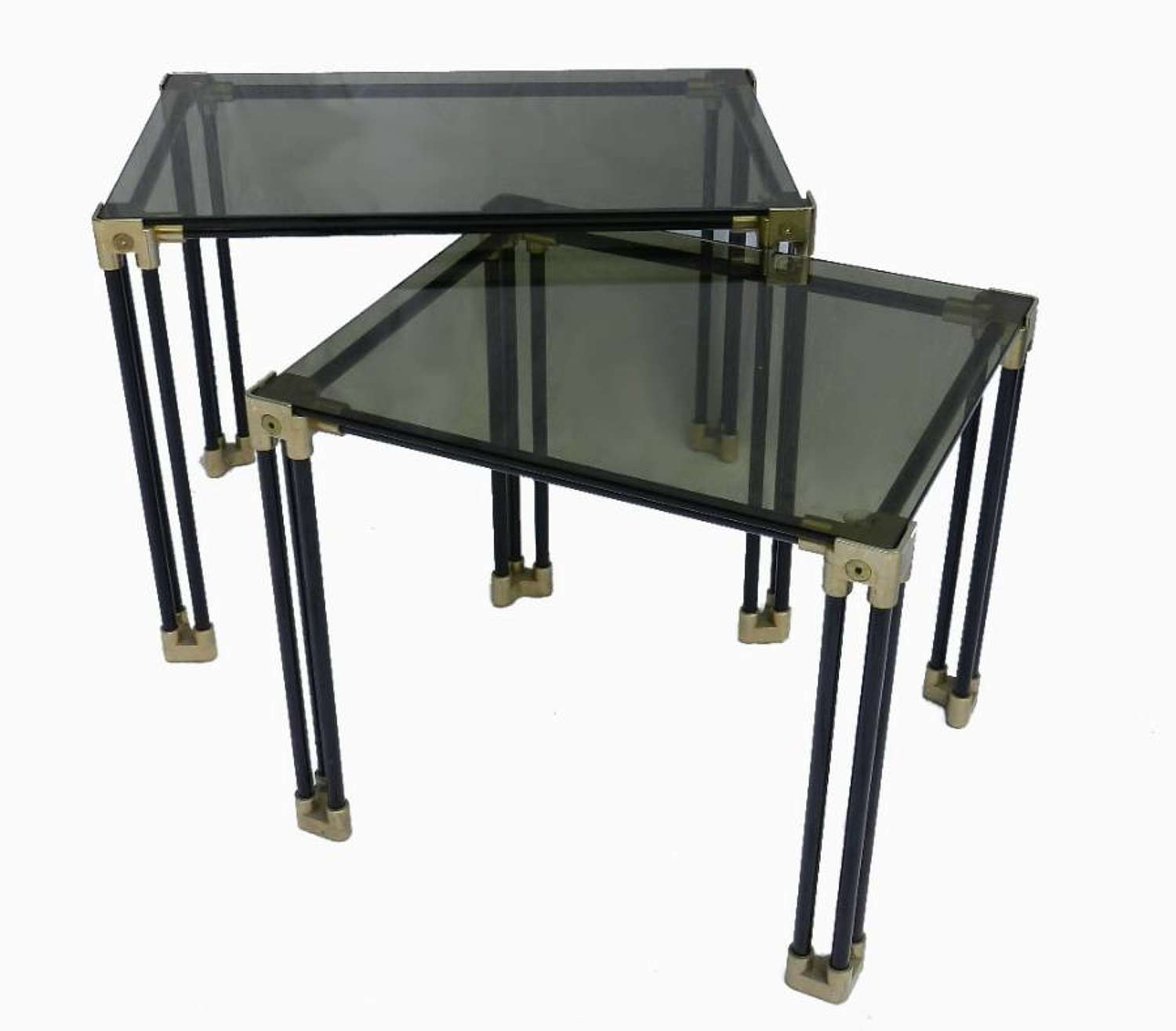2 Graduated Side End Tables Glass and Metal C20 Vintage