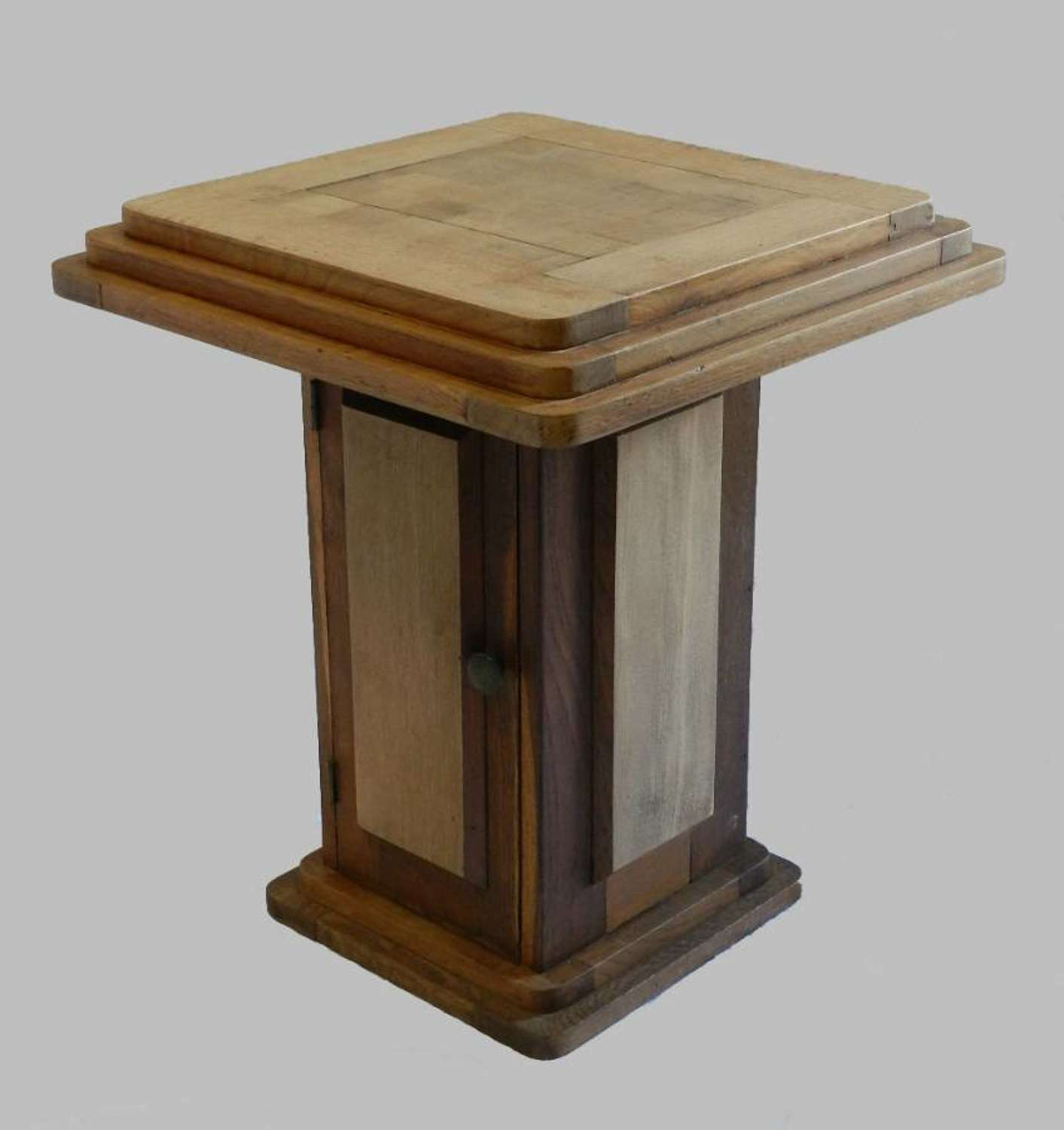 Unusual French Art Deco Occasional Table with Cupboard Solid Oak