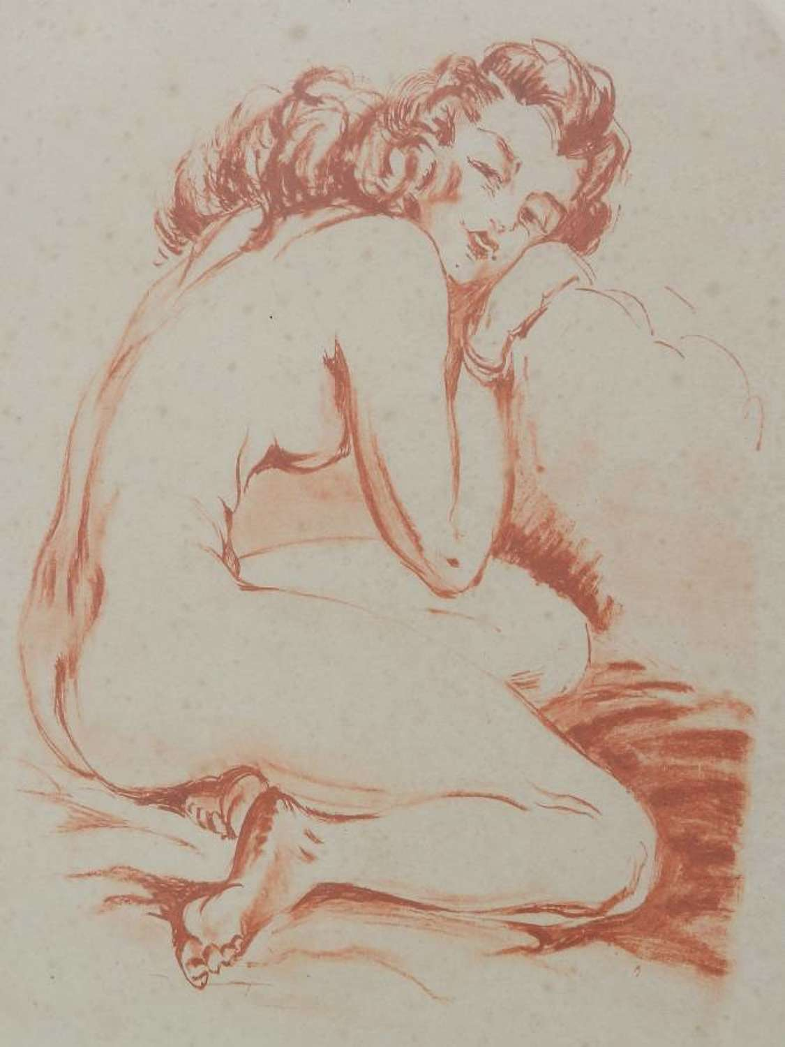 Original Signed French Print Etching of Nude Woman c1940