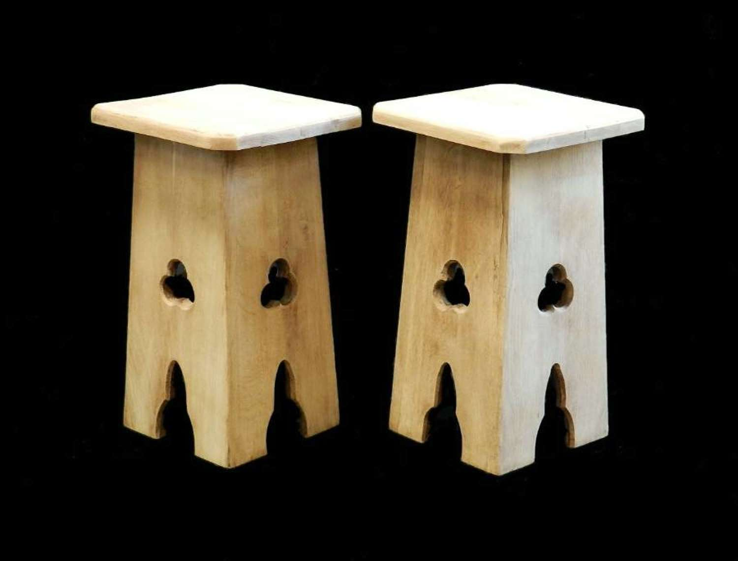 Pair of Arts and Crafts Stools Gothic rev Bleached Oak