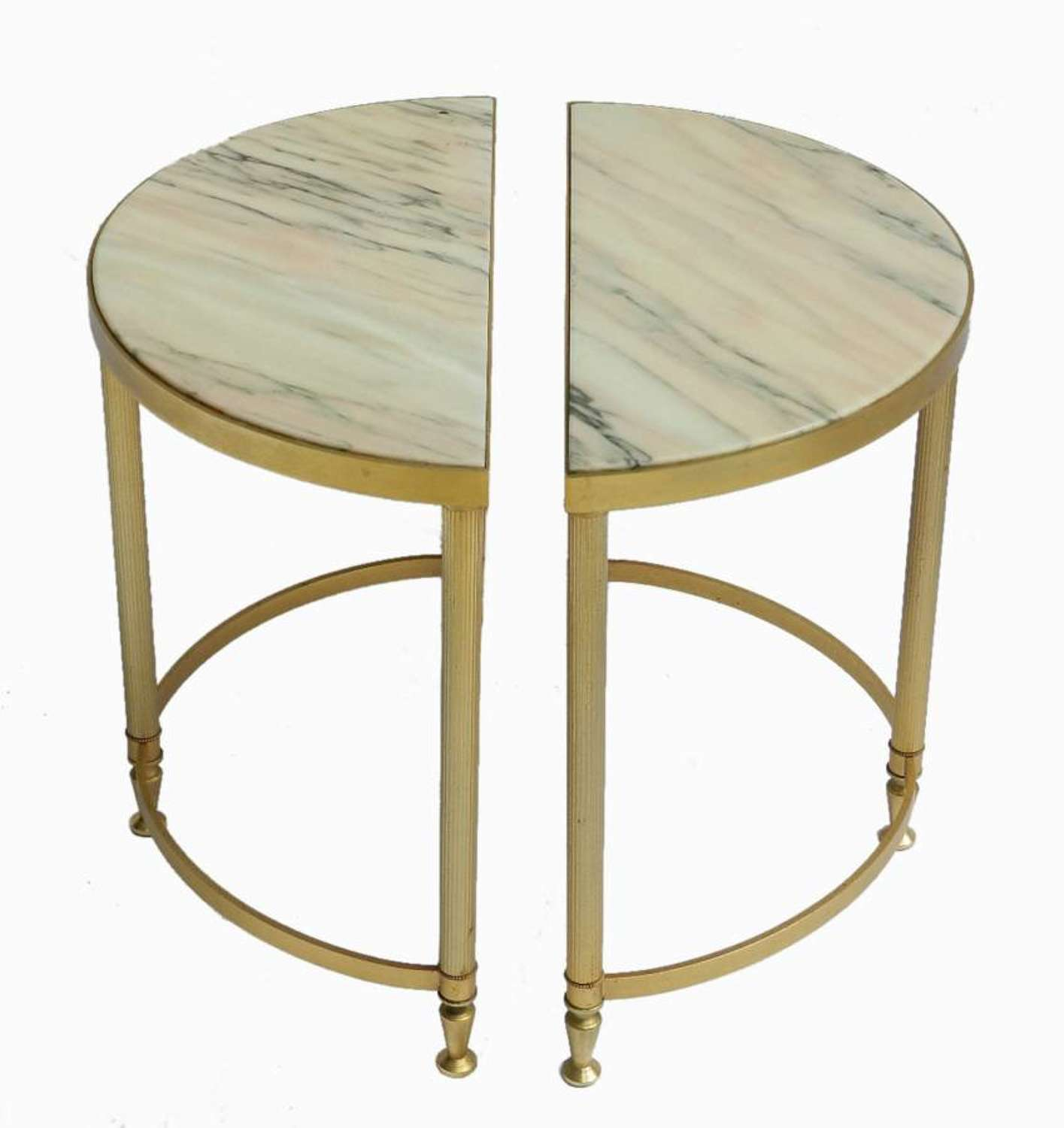 Pair of small Drinks or Coffee French Console Side End Tables Brass and Marble c1970