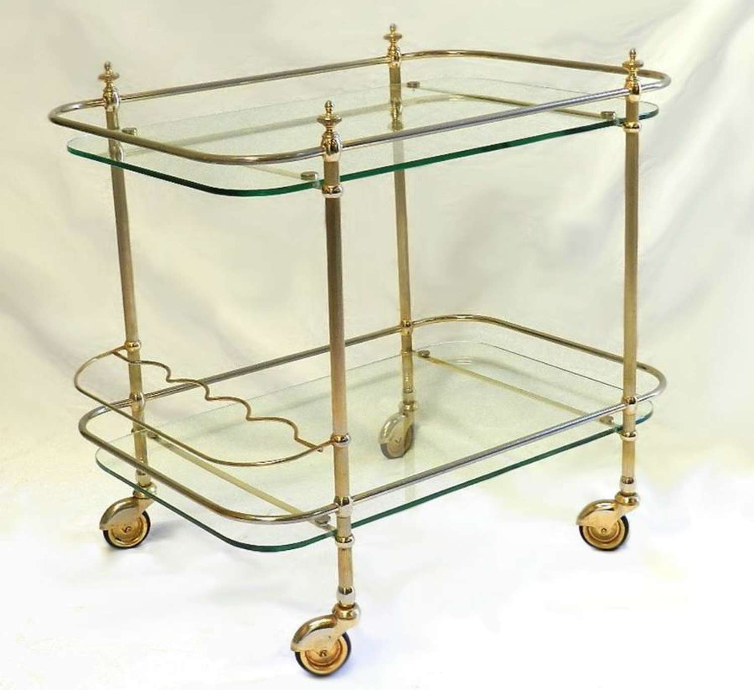 French Brass and Glass Trolley Coffee Cocktail and Drinks Bottle Server Table