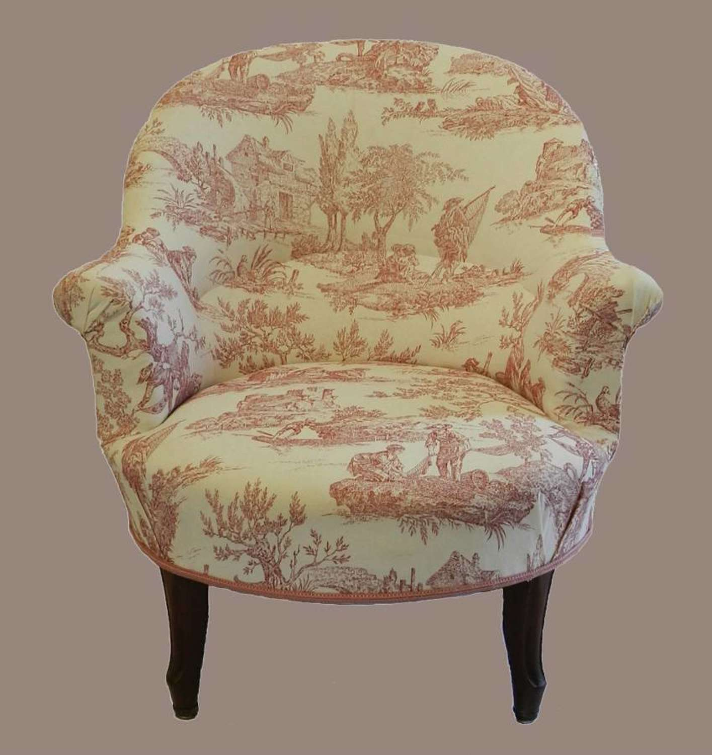 C19 French Louis Armchair Fauteuil Linen Toile de Jouy recently re-upholstered Slipper Chair