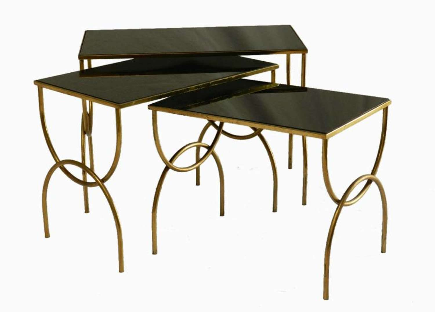 French Nest of  Tables Black Opaque Glass and Metal