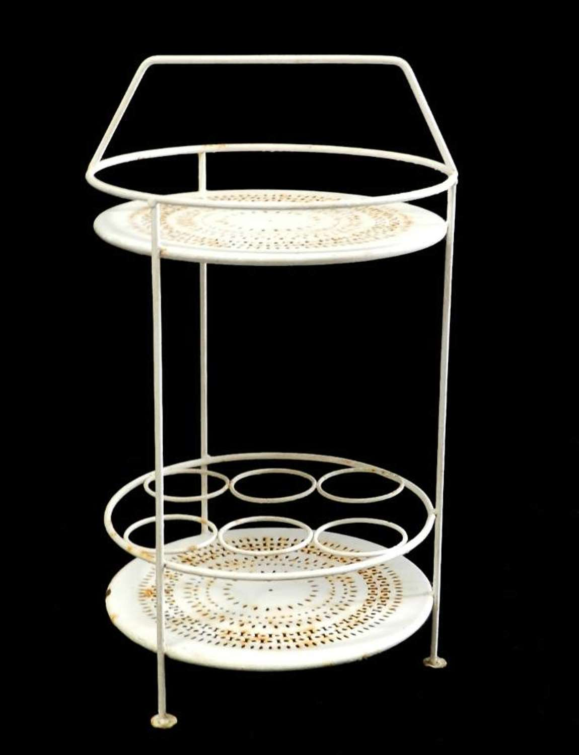 Rare French Iron Garden Table Coffee Cocktail and Drinks Bottle Stand