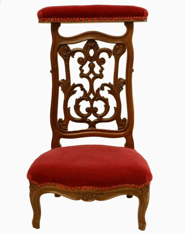 C19 Ecclesiastical Side Chair French Prie Dieu Chair